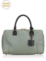 LOEWE Amazona Barroco Leather Satchel Grey
