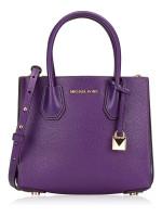 MICHAEL KORS Mercer Leather Medium Messenger Ultra Violet