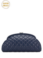 CHANEL Caviar Leather Timeless Clutch Navy