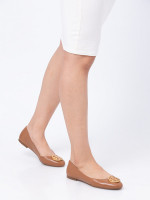 TORY BURCH Benton Leather Flats Royal Tan Sz 6