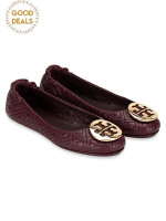TORY BURCH Minnie Quilted Leather Flats Malbec Gold Sz 5.5