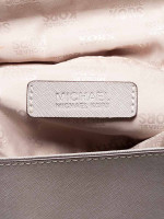 MICHAEL KORS Callie Saffiano Medium Top Handle Satchel Pearl Grey