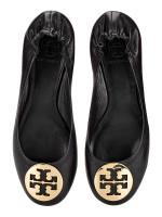 TORY BURCH Classic Reva Leather Flats Black Gold Sz 6.5