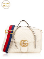 GUCCI GG marmont Matelasse Top Handle Flap Bag White