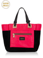 FURLA Tribe Leather Small Tote Black Pink