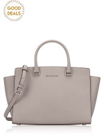 MICHAEL KORS Selma Large Satchel Pearl Grey