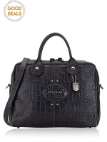 LONGCHAMP Quadri Croco Large Satchel Dark Grey