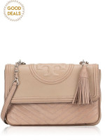 TORY BURCH Fleming Distressed Flap Shoulder Bag Taupe