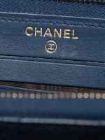 CHANEL Caviar Medium Zip Wallet Blue