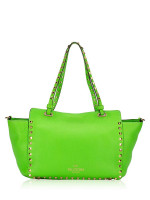 VALENTINO Rockstud Leather Small Tote Lime Green