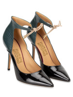 SALVATORE FERRAGAMO Rema Ankle Strap Heels Nero Petrolio Sz 9