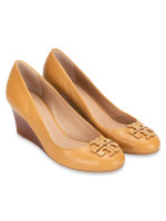 TORY BURCH Lowell Leather Wedges Blond Sz 6.5