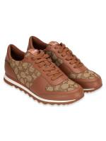 COACH Signature Runner Low Top Sneakers Khaki Saddle Sz 5