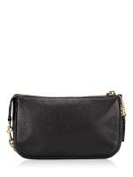 COACH 53340 Pebbled Leather Large Wristlet Black