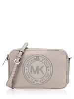 MICHAEL KORS Fulton Sport Logo Leather Large Crossbody Pearl Grey