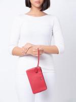 COACH 87587 Pebble Leather Double Zippy Wallet Bright Cardinal
