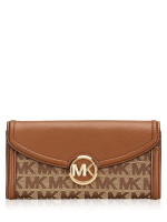 MICHAEL KORS Fulton Monogram Flap Wallet Beige Ebony Luggage