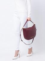 MICHAEL KORS Bedford Leather Medium Crescent Shoulder Bag Merlot