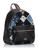 COACH 72771 Americana Patchwork Mini Charlie Backpack Denim Multi