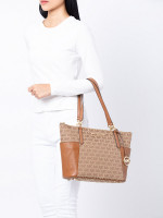 MICHAEL KORS Bedford Signature Canvas Large Zip Tote Beige Luggage