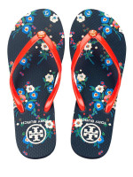 TORY BURCH Thin Printed Flip Flops Tory Red Pansy Bouquet Sz 7