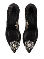 DOLCE & GABBANA Bellucci Embellished Lace Pump Black Sz 37.5