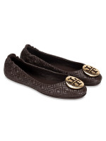 TORY BURCH Minnie Quilted Leather Flats Espresso Sz 8