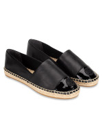 TORY BURCH Colorblock Mixed Leather Espadrille Perfect Black Sz 6