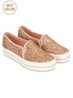 KEDS X Kate Spade Triple Decker Glitter Rose Gold Sz 8