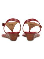 MICHAEL KORS Ramona Leather Sandal Burnt Red Sz 6