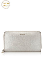 FURLA Classic Leather Continental Wallet Silver