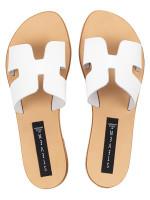 STEVE MADDEN Greece Leather Slide Sandal White Sz 6