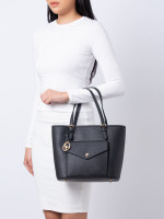MICHAEL KORS Jet Set Saffiano Medium Pocket Tote Black