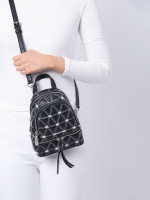 MICHAEL KORS Rhea Zip Xs Quilted Leather Messenger Backpack Black