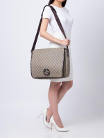 GUCCI GG Plus Interlocking G Large Messenger Beige Ebony