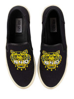 KENZO Skate Tiger Canvas Slip On Sneakers Black Sz 41