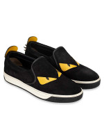 FENDI Men Suede Bag Bugs Slip On Black Sz 7