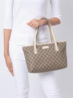 GUCCI GG Plus Small Tote Bag Beige White