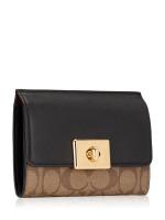 COACH 76789 Signature Cassidy Turnlock Medium Wallet Khaki Black