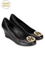 TORY BURCH Sally Wedges Black Gold Logo Sz 5.5