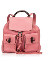 GUCCI Pebbled Leather Bamboo Backpack Pink
