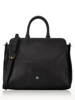AIGNER Leather Large Satchel with Embellished Strap Black