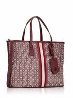TORY BURCH Gemini Link Canvas Center Stripe Tote Royal Burgundy