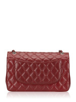 CHANEL Caviar Quilted Jumbo Classic Flap Bag Dark Red