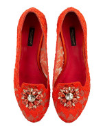 DOLCE & GABBANA Vally Embellished Lace Slippers Coral Sz 39