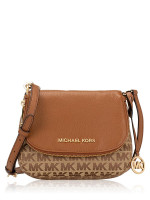 MICHAEL KORS Bedford Monogram Small Flap Crossbody Beige Ebony Luggage
