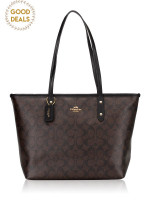 COACH 36876 Signature City Top Zip Tote Brown Black
