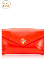 TORY BURCH Robinson Small Envelope Roll Clutch Poppy Red