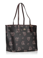 COACH 78283 Ribbon Bouquet Reversible city Tote Black Pink Multi Oxblood
