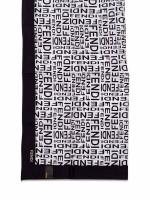 FENDI Printed Woven Scarf Black White